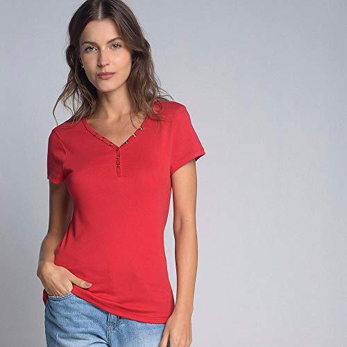 Camiseta Luigi Bertolli Feminino Básica Botões Vermelho
