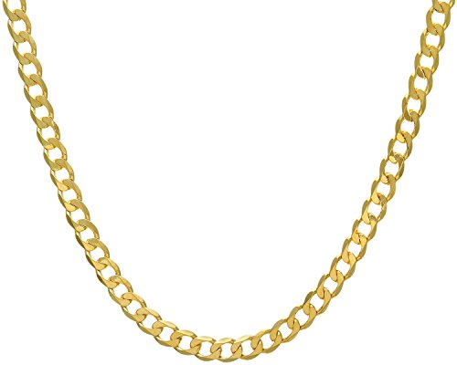 Revoni Bague en or jaune 9carats-36,5g-Collier Femme-Maille Gourmette, longueur 51cm/50,8cm, 7,8mm Largeur