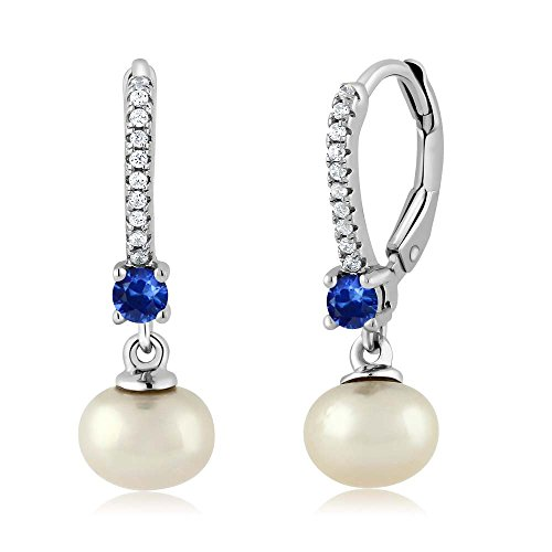 Gem Stone King 0.50 Ct Round Blue Sapphire Cultured Freshwater Pearl 925 Sterling Silver Earrings ()