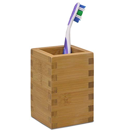 Stjerne Nigiri Toothbrush and Toothpaste Holder Stand for Bathroom Vanity Counter Tops - Natural Bamboo, Rectangular (1 Piece) ()