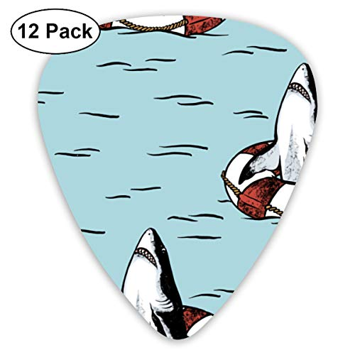 (Rescue Floaty Shark Bendy Ultra Thin 0.46 Med 0.73 Thick 0.96mm 4 Pieces Each Base Prime Plastic Jazz Mandolin Bass Ukelele Guitar Pick Plectrum Display)
