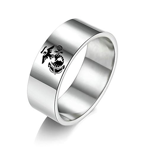 JAJAFOOK 8mm Wide Titanium Steel US Military Marine Corps Veteran Rings for Men Women, Silver/Black/Gold Size 5-13