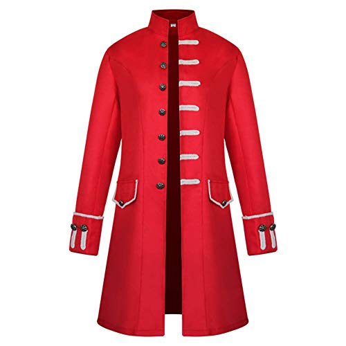Victorian Soldier Costume (Qi Pao Medieval Steampunk Vintage Tailcoat Jacket Coat Formal Halloween Gothic Victorian Frock Coat Costume (L,)