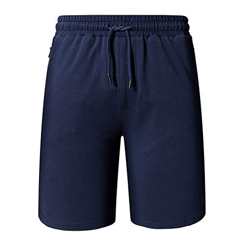 TIFENNY Fashion Cotton Soft Casual Pants Summer Men's Plain Color Sports Shorts Home Pants Zipper Blue ()