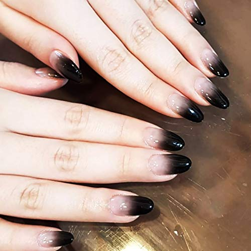 Drecode Fashion Fake Nails Gradient Black Full cover False Nails Wedding Birthday Party Clip on Nails for Women and Girls