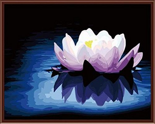 CaptainCrafts New Paint by Number Kits - Lotus Flower bloom 16x20 inch Frameless - Diy Painting by Numbers for Adults Beginner Kids