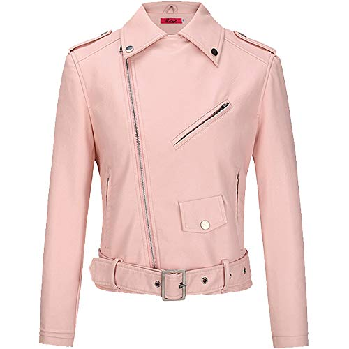 BOMBAX Womens Slim Leather Motorcycle Jacket Blazer Short Bike Coat with Pocket Fall (Pink, Large) (Motorcycle Leather Pink Jacket)