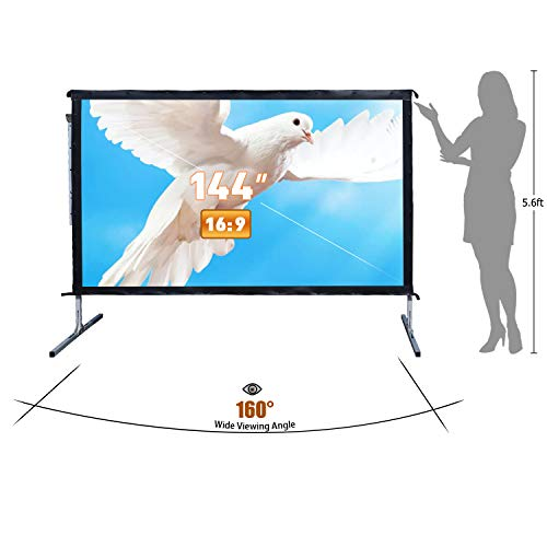 Outdoor Indoor Projector Screen with Stand, 144 inch HD Foldable Portable Projector Screen, 8K 4K 3D 16:9 Projection Movie Screen for Home Theater Camping Recreational Events, Waterproof, Anti-Crease by Stamo (Image #2)