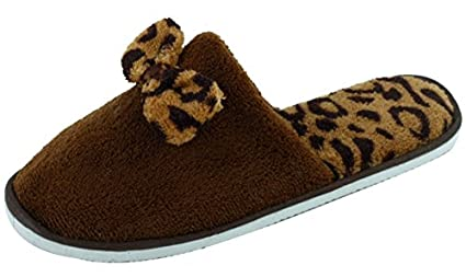 New Women's Fashion Terry Spa Close-Toe Slide House Slippers with Bow sunville