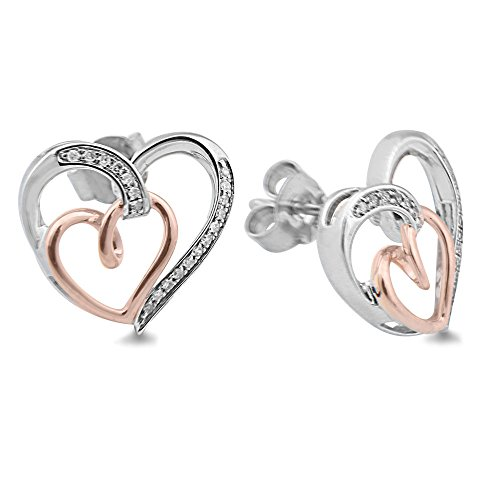 Diamond Heart Earrings in Sterling Silver and 10k Rose Gold (1/10 cttw) ()