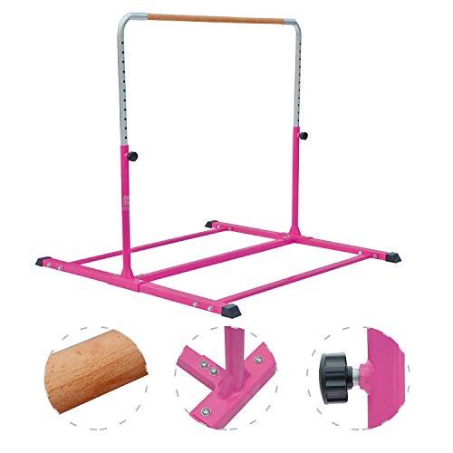 Modern-Depo Adjustable Junior Kip Bar 3'- 5' Gymnastics Horizontal Bar for Kids Home Training, Beech Wood Crossbar, Pink by Modern-Depo (Image #3)