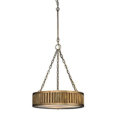 Elk Lighting 46124/3 Linden Collection 3 Light Pendant, Aged Brass