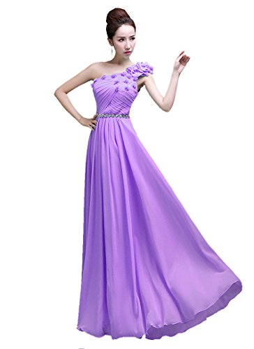 bodenlang Kleid Hellviolett Beauty lang Brautjungfer One Shoulder Emily Xx17B