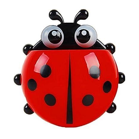 buytra Leading-Star Conveniente ba/ño Cepillo de Dientes Cosas Ladybug Pared succi/ón Soporte