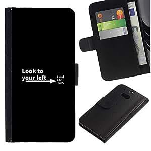 NEECELL GIFT forCITY // Billetera de cuero Caso Cubierta de protección Carcasa / Leather Wallet Case for HTC One M8 // Mira a su izquierda