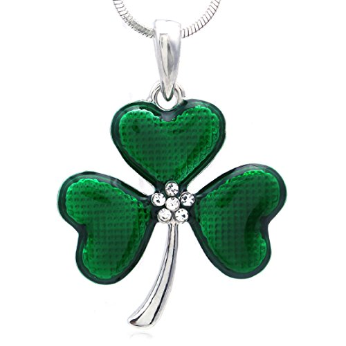 SoulBreezeCollection St. Patrick's Day Irish Good Luck Charm Shamrock 3 Leaf Clover Necklace Pendant (Dark Green)