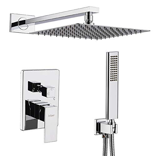IRIBER Rain Shower System with 10 Inch High Pressure Ultra Thin Rain Shower Head and Handheld Bathroom Luxury Rainfall Polished Chrome Shower Set Included Shower Faucet Mixer Valve and Shower Trim Kit ()