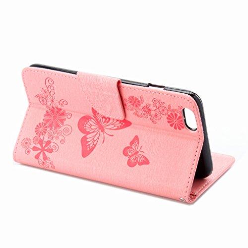 Custodia Apple iphone 6 6s (4.7) Cover Case, Ougger Fiore Farfalla Portafoglio PU Pelle Magnetico Stand Morbido Silicone Flip Bumper Protettivo Gomma Shell Borsa Custodie con Slot per Schede (Rose)