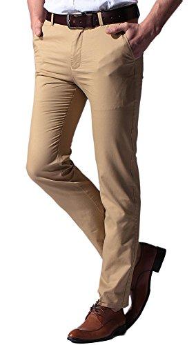 Plaid&Plain Men's Tapered Pants Slim Fit Khaki Dress Pants Chinos 5# Khaki 31