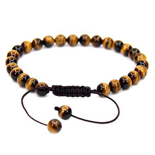 Natural AA Grade Golden Tiger Eye Gemstone 6mm Round Beads Adjustable Bracelet 7