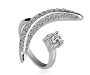 ZMC Women's Rhodium Plated Alloy Swarovski Crystals and Austrian Crystals Fashion Ring - Free Size