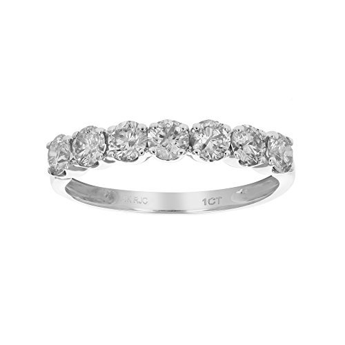 Prong Diamond Wedding Band (1 CT AGS Certified I1-I2 Diamond Wedding Band Prong Set in 14K White Gold In Size 7)