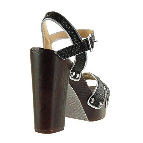 12 Pelle Blocco Zeppe Tacco Cm Di Scarpe Alto Sandali Serpente Borchiati Angkorly Donna Nero A Tanga Moda Xw6qST
