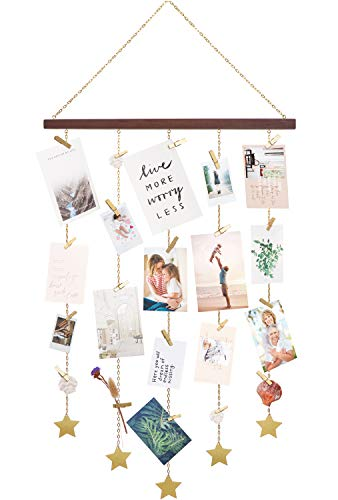 Display Stars Metal Chain Wall Hanging Picture Holders with 25 Wood Clips Wall Art Decoration for Home Office Nursery Room Dorm, Gold ()