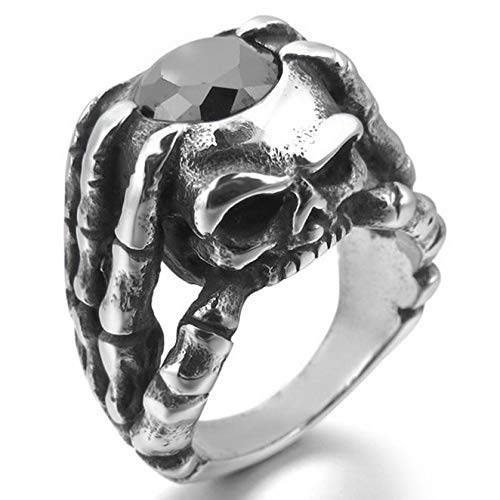 HUAY Men's Stainless Steel Ring CZ Silver Black Skull Hand Hollow Openwork Gothic (12) from HUAY