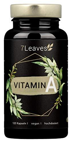 Vitamin A VEGAN & hochdosiert - 10000 iE / 3000 µg Retinol (Retinylacetat) - 120 vegane Kapseln stärken das IMMUNSYSTEM - 7Leaves - made in Germany
