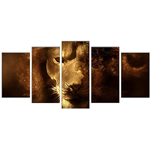 Canvas Painting 5 Piece Lion's Face Wall Art Deco Framework Modular Pictures for Living Kids Room,B,3040x23060x230801cm]()