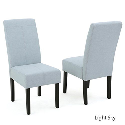 Christopher Knight Home 299585 Pertica Fabric Dining Chairs (Set of 2), Light Sky