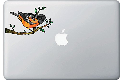 (Bird - Oriole Perched on Branch - Stained Glass Style Opaque Vinyl Macbook Laptop Decal - Copyright 2015 Yadda-Yadda Design Co. (MED 5.25