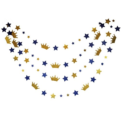 (Mybbshower Royal Blue Stars and Gold Glitter Crown Paper Banner for Boy Birthday Party Decoration Pack of 20)