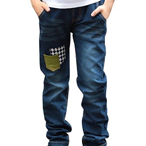 Toddler Child Boy Elastic Mid Waist Washed Full Length Regular Pants Denim Jeans save more