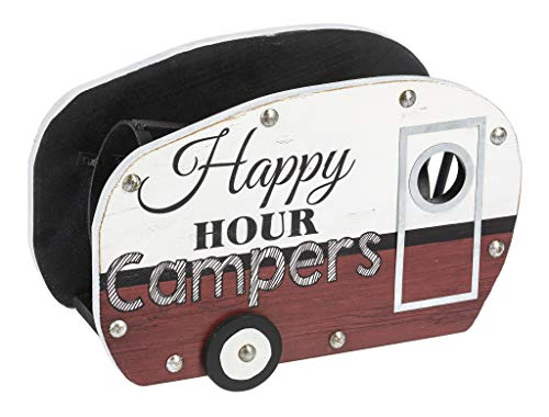 Happy Hour Campers Red and White 10 x 7 Wood and Iron Tabletop Wine Rack Holder