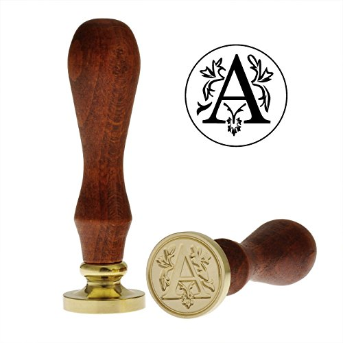 Yoption Classic Letter A Vintage Retro Brass Head Wooden Handle Initial Sealing Wax Seal Stamp (A)