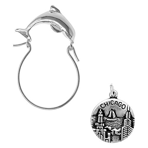 Raposa Elegance Sterling Silver Chicago Charm on a Dolphin Charm Holder]()
