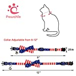 PAWCHIE American Flag Cat Collars Breakaway, 2 Pack Bow Tie Collar for Cats with Bell, Adjustable 11