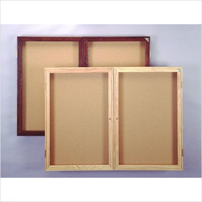 2 Door Enclosed Bulletin Board Size: 3' H x 4' W, Frame Finish: Satin, Surface Color: Gray