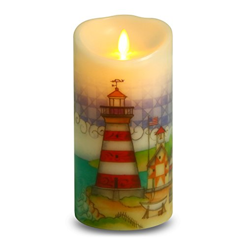 Ksperway Flameless Wax Candles, Moving Wick LED Pillar Candle with Blow ON/Off Control,Timer and Remote 3.5 by 7 Inch Picture (Lighthouse) (Lighthouse Pillar)