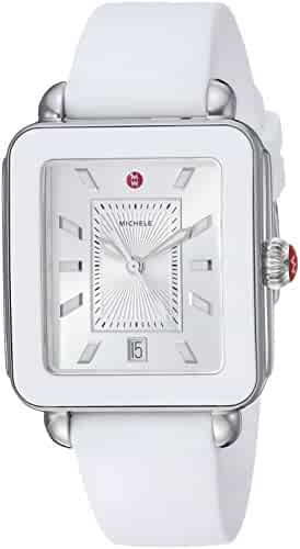 Michele Women's Swiss Quartz Stainless Steel and Rubber Casual Watch, Color:White (Model: MWW06K000004)