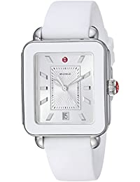Womens Swiss Quartz Stainless Steel and Rubber Casual Watch, Color:White (Model:
