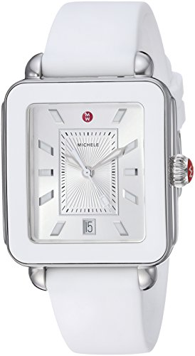 MICHELE Women's Stainless Steel Swiss-Quartz Watch with Rubber Strap, White, 18 (Model: MWW06K000004)