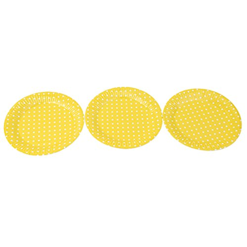 Dolland Yellow Polka Dots Paper Plates Disposable Party Supplies Set Decorative Tableware For Birthday Parties,Yellow by Dolland (Image #2)