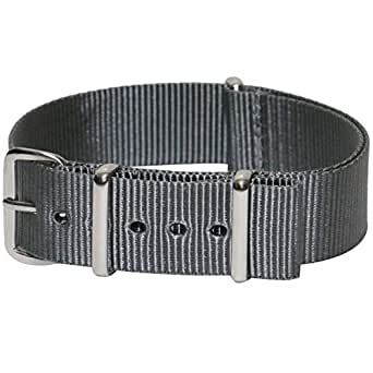 Momentum 20 mm Stainless Steel Buckle Nato Strap, Grey