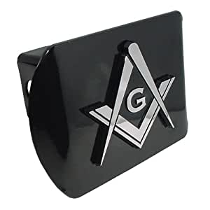 Mason Square Compass Black with Chrome Plated Metal Masonic Lodge Freemason Fraternal Auto Car Truck Trailer Hitch Cover Fits 2 Inch Receiver