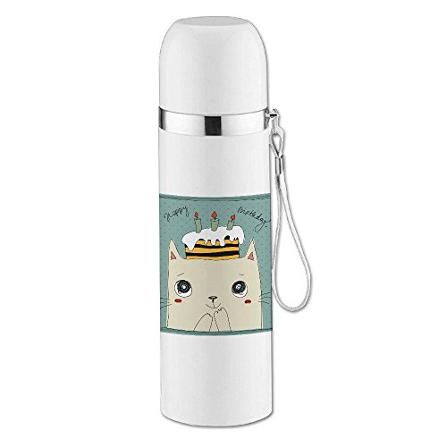 iMissY Happy Birthday Cute Cat Fashion Bullet Vacuum Thermal Insulation Cup (350ml)