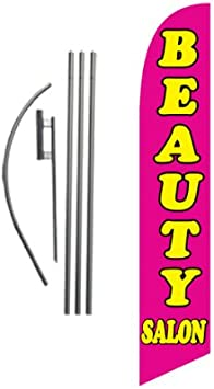Pink Beauty Salon Feather Banner Swooper Flag FLAG ONLY
