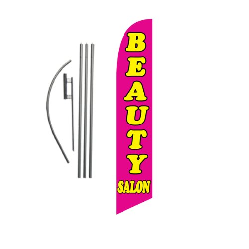Beauty Salon (Pink) Feather Banner Swooper Flag Set with 15 Foot Flag Pole Kit and Ground Stake (Ground Banner)